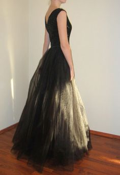 Black Maxi Evening GownTulle Open Back Dressİvory by atelierLenaZh