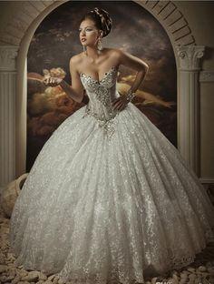 f992e47ba58 Romantic Jewelry Sexy Lace Wedding Dress Ball Gown 2016 Sweetheart Floor  Length Open Back Ball Lace · Fialová SvatbaInspirace ...