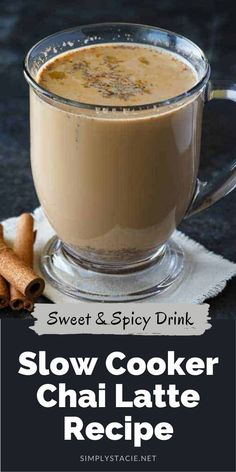 Slow Cooker Chai Latte - Sweet and spicy! This cozy drink is perfect for cold nights curled up with a good book. Healthy Holiday Recipes, Vegan Recipes Easy, Fall Recipes, Real Food Recipes, Recipes Dinner, Cocktail Recipes, Spicy Drinks, Yummy Drinks, Drinks Alcohol Recipes