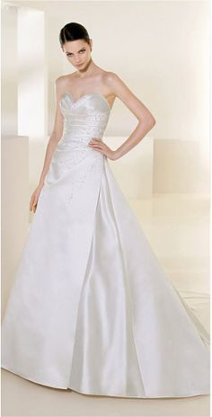 Brilliant Strapless Sweetheart Beads Working Chapel Train Satin Bridal Gown