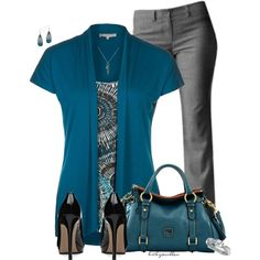 Turquoise & Gray, created by bitbyacullen on Polyvore