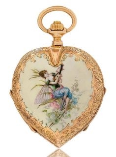HEART-SHAPED ENAMEL PENDANT WATCH, ca. 1890. Opulently engraved and enamelled case with sprung cover numbered. The front with a depiction of an elf playing music, on a cream-coloured ground. The back enamelled with a bouquet of flowers, and a bow and arrow. Inside dust cover in gold with engraved dedication. White enamelled dial with pink gold Louis XV hands.