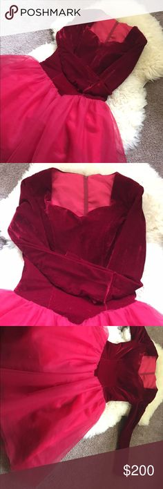 birthday gown wine red tull velvet dress vintage This is a gorg, beautiful, sexy gown I got as a custom made for my birthday but it arrived late. so it is a brand new never ever worn. it for size S and M. very pretty party dress. Dresses Prom