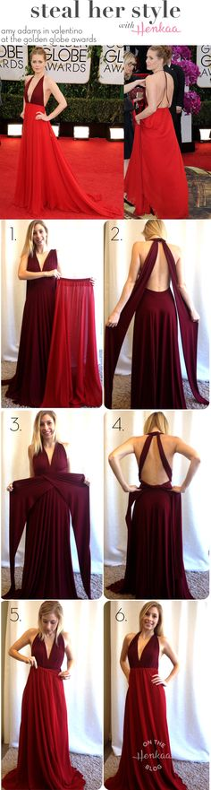 Steal Amy Adam's red carpet style with just a Burgundy Wine Sakura Convertible Dress and a Ruby Red Hana Chiffon Overlay! Perfect for a black tie wedding or a fancy charity gala event.