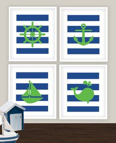 Nautical Nursery Art Print Set - Ahoy - Green Navy Blue Stripes Art Prints Set - Whale Anchor Sailboat Wheel