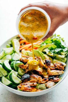 Grilled Chicken Mango Salad with Mango Cilantro Dressing is loaded with cucumbers, peppers, avocado and has a crazy good dressing that doubles up as a marinade! Best summer salad ever!