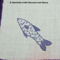 Detail: Embroidered fish motif in corner, purple scalloped edges. Scalloped Edge, Corner, Fish, Embroidery, Detail, Purple, Accessories, Needlepoint, Pisces