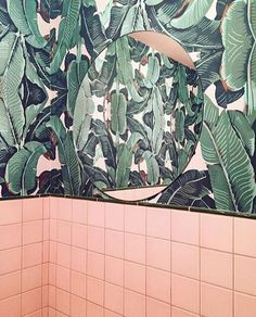 Banana Leaf & Blush Pink Bathrooms | Palm Vaults | Hackney | London                                                                                                                                                     More