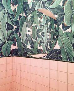 Banana Leaf & Blush Pink Bathrooms | Palm Vaults | Hackney | London