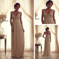 Women Vintage Wedding Dress With Sleeves vestidos de chiffon Open Back Cap Sleeve Bow Back Bridal Gown