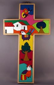 I hope you had a fantastic time welcoming I thought I would kick off the year with some beautiful artwork by Fernando . Painted Wooden Crosses, Arte Country, Sunday School Crafts, Beautiful Artwork, Aesthetic Art, Painting Inspiration, Art Projects, Symbols, Religion