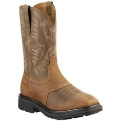 Ariat Sierra Wide Square Toe Steel Toe Work Boots for Men - Aged Bark - Steel Toe Cowboy Boots, Steel Toe Work Boots, Western Boots, Cowgirl Boots, Ariat Mens Boots, Ariat Work Boots, Men's Boots, Riding Boots, Justin Boots