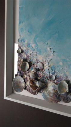 Pintura Original de conchas firmado enmarcado listo para