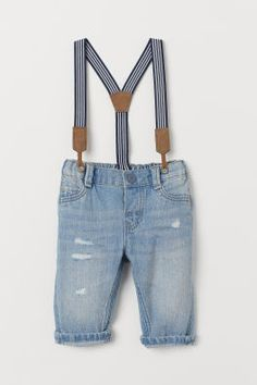 Jeans with Suspenders - Light denim blue - Kids Light Denim, Suspender Jeans, Baby Suspenders, Girls Clothes Shops, Printed Polo Shirts, Thing 1, H&m Jeans, Boys Pants, Linen Shorts