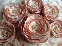 6 satin vintage lace fabric flowers romantic  cream ivory pink wedding vintage
