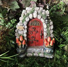 Miniature Solar Fairy Door Mushroom Meadow Lights Up