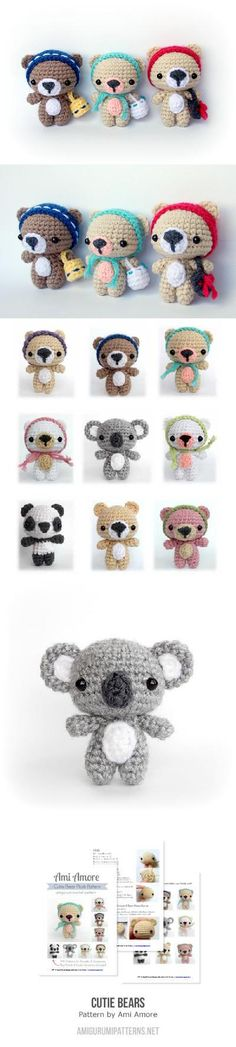 OMG! Look a these koalas, they are really cuteTry to make some! Found at Amigurumipatterns.net #amigurumibears #amigurumi