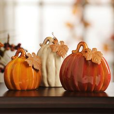 Ceramic Pumpkins, Set of 3   Kirklands