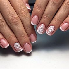 Beautiful delicate nails, Beautiful wedding nails, Bridal nails, French manicure news 2017, Gentle winter nails, Ideas of gentle nails, Light spring nails, Nails for wedding dress