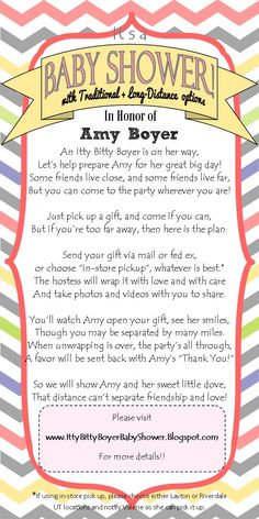 Long Distance Baby shower Invitation- I wrote this cute little poem to explain how the baby shower works. Feel free to re-use the wording or re-pin!