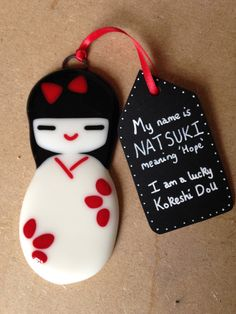 Mini Lucky Kokeshi Doll Natsuki Fused Glass Art by LoveInPockets