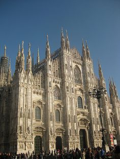 """Milan cathedral. """"Architecture by committee"""" Proportions- Italian Surface decorations- Gothic Pinnacles and tracery- French"""