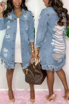 Denim Outfit For Women, Clothes For Women, Cheap Clothes, Denim Outfits, Denim Shirt Outfit Summer, Denim Dresses, Affordable Clothes, Affordable Fashion, Blue Fashion