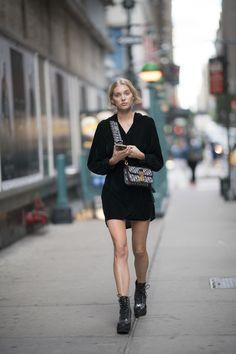 Elsa Hosk à la Fashion Week printemps-été 2018 à New York
