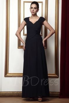 9427839c6d2 A-line V-Neck Flower Draped Long Taline s Mother of the Bride Dress