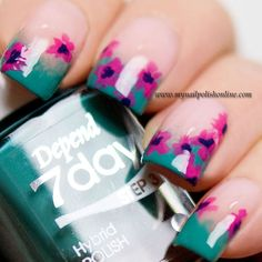 green french + pink flower nail art