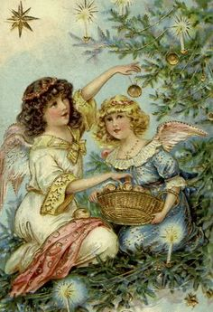 Two little angels decorate the tree.