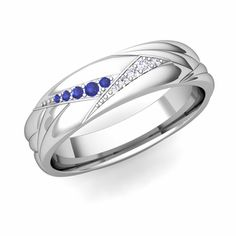 Wave Mens Wedding Band in 14k Gold Diamond and Sapphire Ring, 5mm