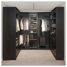 IKEA – PAX black-brown Corner wardrobe Frame color: - Home creative ideas Walk In Closet Design, Bedroom Closet Design, Master Bedroom Closet, Closet Designs, Bedroom Black, Wardrobe Room, Wardrobe Closet, Ikea Pax Wardrobe, Ikea Black Wardrobe