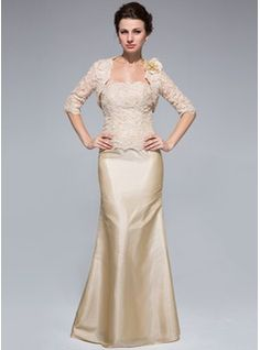 Trumpet/Mermaid Strapless Floor-Length Taffeta Lace Mother of the Bride Dress With Beading (008018959) - JJsHouse