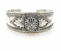 Sterling Silver Dome And Leaf Cuff Bracelet by CJVintageTreasures, $60.00