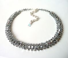 Silver Beaded Jewelry Choker Necklace Swarovski by MelJoyCreations, $78.00