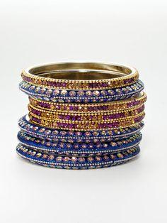 purple & blue bangles $138 #bangles #gems