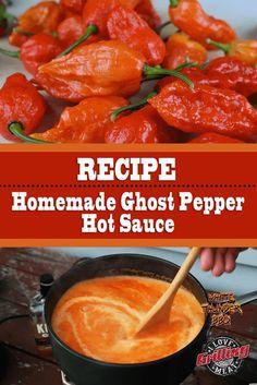 Homemade Ghost Pepper Hot Sauce Recipe - Sauces and dips - Sauce recipes Hot Pepper Recipes, Hot Sauce Recipes, Chilli Recipes, Canning Recipes, Mexican Food Recipes, Ghost Pepper Salsa Recipe, Fermented Hot Sauce Recipe, Habanero Recipes, Gastronomia