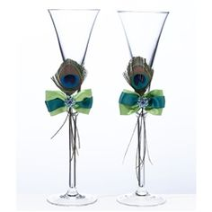 Peacock Feather Toasting Glass Set