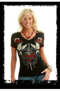 Cowgirl Tuff Co. black v-neck with detail design of heart, dagger, roses, wings and scrolls. Sleeves fade to red.