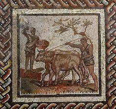 Ploughing, from Saint-Romain-en-Gal, Rhone-Alpes, France, 3rd century AD (mosaic). Roman, (3rd century AD) / Musee des Antiquites Nationales, St. Germain-en-Laye, France / Giraudon / The Bridgeman Art Library