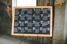 chalkboard seating chart, photo by Steven Michael Photography http://ruffledblog.com/kansas-city-loft-wedding #weddingideas #seatingchart