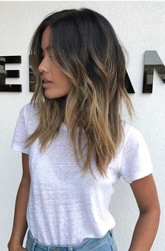 Ombre medium to long hair styles - ombre balayage hairstyles for women 2019 - pag. , medium to long hair styles - ombre balayage hairstyles for women 2019 - pag. medium to long hair styles - ombre balayage hairstyles for wo. Brown Hair Balayage, Hair Color Balayage, Balayage Highlights, Balayage Hair Brunette Medium, Hair Styles Brunette, Medium Brown Hair With Highlights, Dark Brunette Balayage Hair, Blonde Color, Hair Color Ideas For Brunettes Balayage