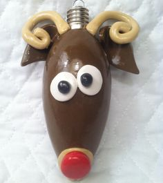Handmade Polymer Clay Reindeer Ornament by Craftsbyahrector, $10.00