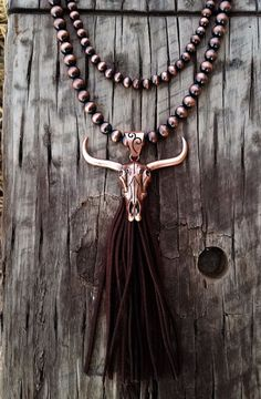 COWGIRL Bling HUGE LONGHORN COW SKULL PENDANT FRINGE COPPER tone NECKLACE set #BAHARANCH #NECKLACE