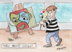 ACEO TW AUG Original Painting Pablo Paints Vincent Picasso Van Gogh cartoon #Cartoon
