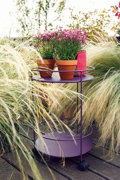 #Guéridon à roulettes double plateau couleur #Violet #Aubergine #Fermob / #purple #outdoor
