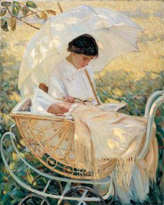 Mary Cassatt (1844-1926). Young Mother In the Garden.   Cassatt was instrumental in bringing the works of the Impressionist movement to America. She was a close friend of Degas and exhibited alongside in 1879. Cassatt principally painted children and scenes of motherhood with simplicity, energetic brushwork, and glowing colors.