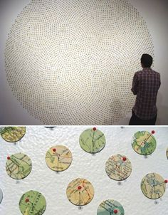 "Maine-based artist Shannon Rankin uses little discs of maps to create installations, collages and drawings ""that use the language of maps to explore the connections among geological and biological processes, patterns in nature, geometry and anatomy. Using a variety of distinct styles I intricately cut, score, wrinkle, layer, fold, paint and pin maps to produce revised versions that often become more like the terrains they represent."""
