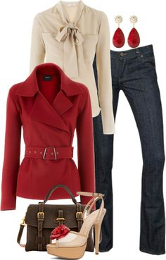 """Red Lipstick"" by colierollers ❤ liked on Polyvore. Love the color and style of he jacket"